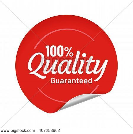 Quality Guaranteed Red Round Sticker With Bent Edge. Adhesive Paper Badge For Trading, Selling Produ
