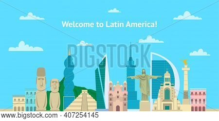 Cartoon Color Welcome To Latin America Tourism Concept Template Banner Card Flat Design Style. Vecto