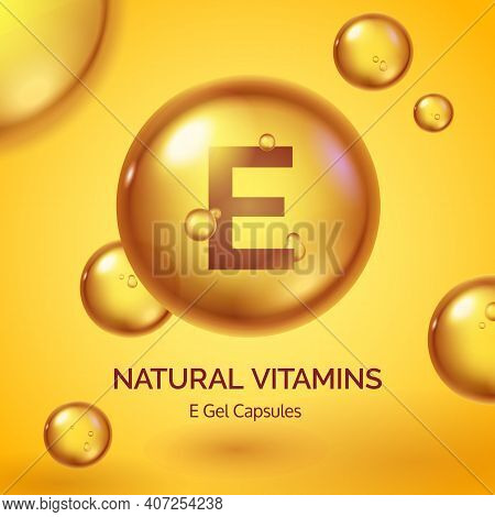 Capsule With Vitamin E. Realistic Gold Pill. Cosmetic Skin Care Product Poster With Oil Drops And Bu