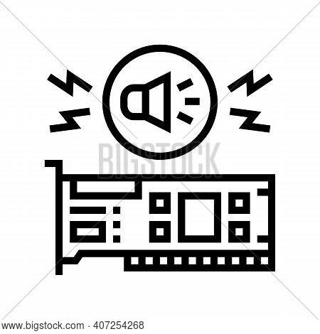 Audio Card Computer Component Line Icon Vector. Audio Card Computer Component Sign. Isolated Contour