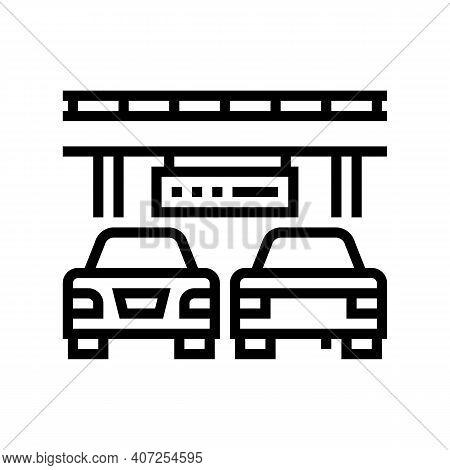 Bridge Traffic Jam Line Icon Vector. Bridge Traffic Jam Sign. Isolated Contour Symbol Black Illustra