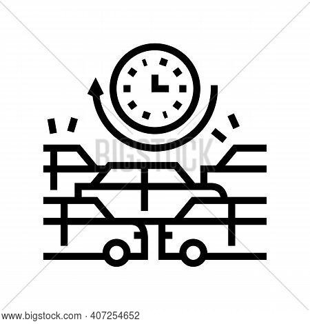 Waiting Time In Traffic Jam Line Icon Vector. Waiting Time In Traffic Jam Sign. Isolated Contour Sym