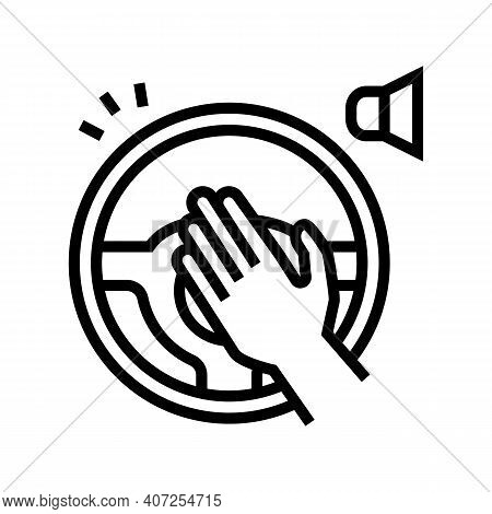 Driver Honking Line Icon Vector. Driver Honking Sign. Isolated Contour Symbol Black Illustration