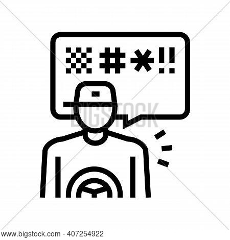 Driver Swearing Line Icon Vector. Driver Swearing Sign. Isolated Contour Symbol Black Illustration