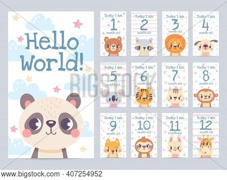 Baby Month Cards With Animals. Monthly Milestone Stickers For Newborn Scrapbook. Kids Age Tags With