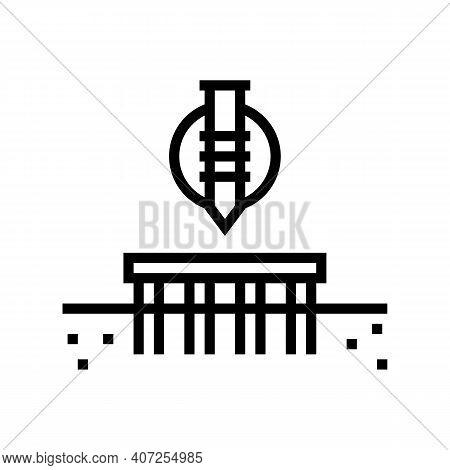 Pile Screw Foundation Line Icon Vector. Pile Screw Foundation Sign. Isolated Contour Symbol Black Il