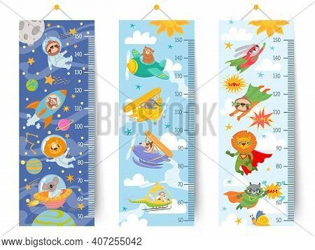 Kids Height Chart. Cartoon Wall Ruler For Children With Animals Astronaut In Space, Pilots In Sky An