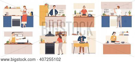 People Cooking At Home. Men And Women Preparing Food In Kitchen Interior. Characters Bake, Fry And B
