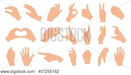 Hands Holding Gestures. Elegant Female And Male Hand Showing Heart, Ok, Like, Pointing Finger And Wa