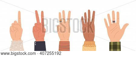 Hands Counting. Count On Fingers Showing Number One, Two, Three, Four And Five. Hand Icons Countdown