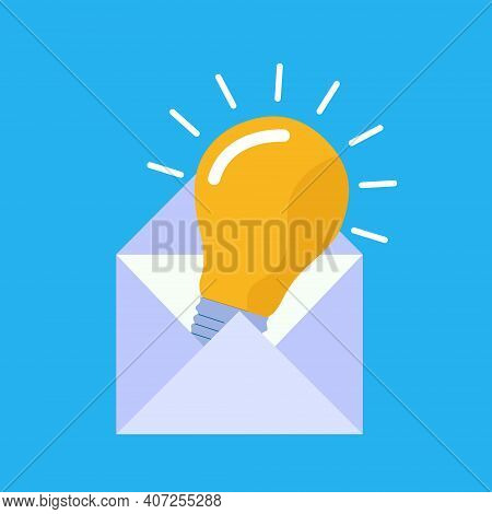 Envelope Lightbulb Icon An Idea Isolated On A White Background Close-up