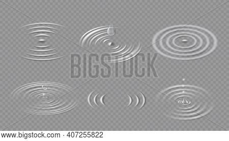 Drops And Ripples. Circular Wave On Water Surface. Falling Dripping Droplet And Concentric Circle Sp
