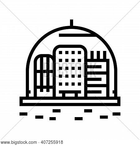 Cosmic City Under Dome Line Icon Vector. Cosmic City Under Dome Sign. Isolated Contour Symbol Black