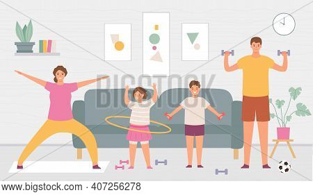 Sport Family At Home. Parents And Kids Do Exercise In House Interior. Indoor Healthy Lifestyle For A