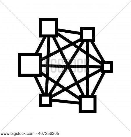 Neural Network Line Icon Vector. Neural Network Sign. Isolated Contour Symbol Black Illustration