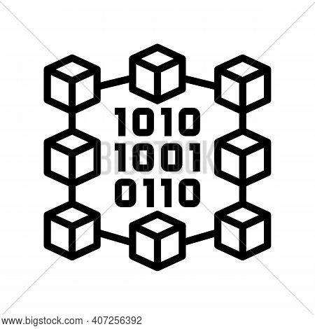 Binary Neural Network Line Icon Vector. Binary Neural Network Sign. Isolated Contour Symbol Black Il