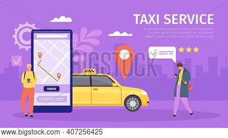 Taxi Online Service. Young Man And Woman Order Cab By Smartphone. Big Phone With Map And Location. M