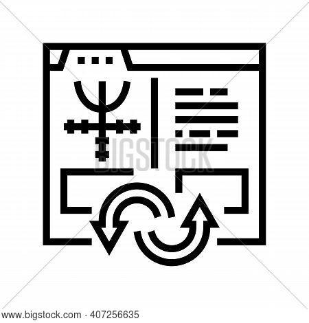 Index To Information Converter Line Icon Vector. Index To Information Converter Sign. Isolated Conto