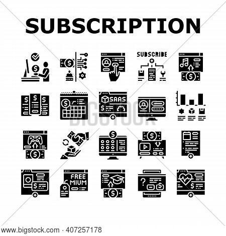 Subscription Content Collection Icons Set Vector. Buying Video Game And Music, Electronic Book And F