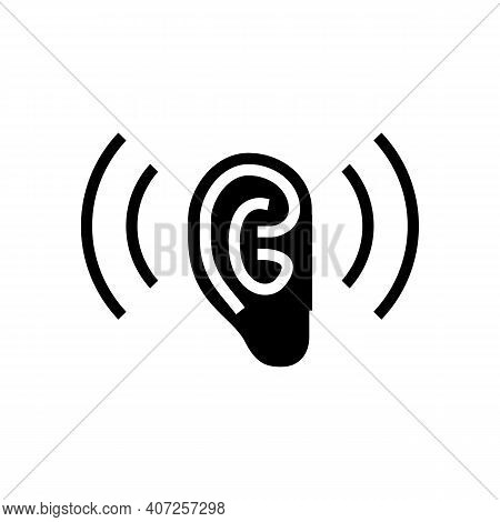 Listening And Hearing Noise Glyph Icon Vector. Listening And Hearing Noise Sign. Isolated Contour Sy