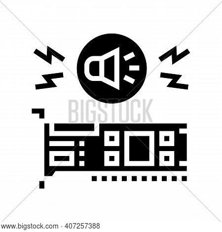 Audio Card Computer Component Glyph Icon Vector. Audio Card Computer Component Sign. Isolated Contou