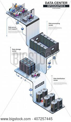 Data Center Modern Isometric Infographics. 3d Isometry Graphic Design Concept With Tech Support And