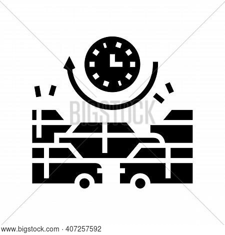 Waiting Time In Traffic Jam Glyph Icon Vector. Waiting Time In Traffic Jam Sign. Isolated Contour Sy