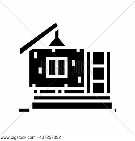 Ready Wall For Building House Glyph Icon Vector. Ready Wall For Building House Sign. Isolated Contou