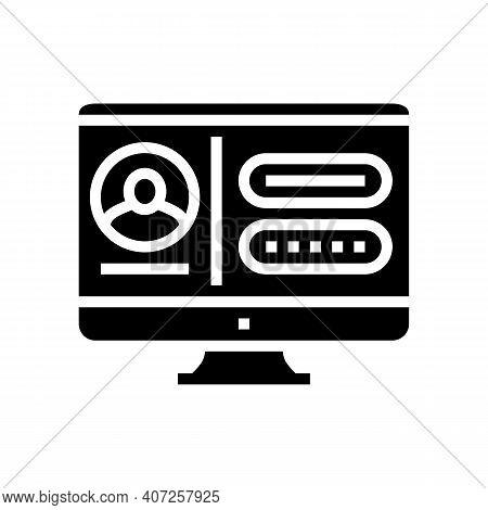 Registration Internet Account Glyph Icon Vector. Registration Internet Account Sign. Isolated Contou