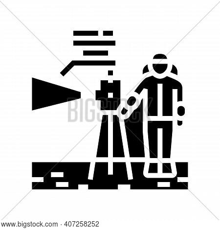 Astronaut Working With Measuring Equipment Glyph Icon Vector. Astronaut Working With Measuring Equip