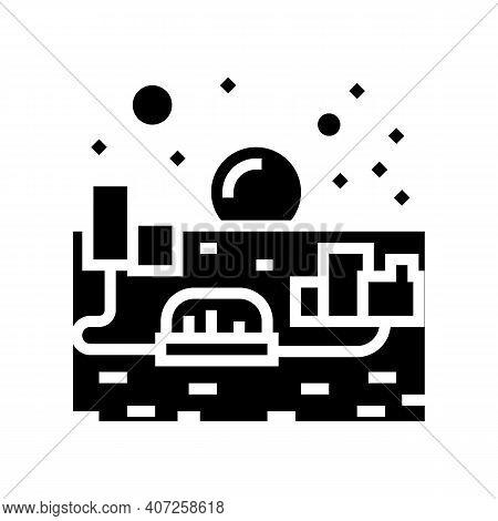 City On Mars Glyph Icon Vector. City On Mars Sign. Isolated Contour Symbol Black Illustration