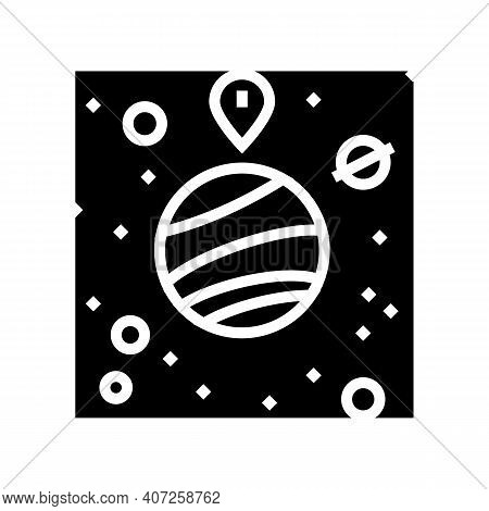 Gps Location Point On Planet Glyph Icon Vector. Gps Location Point On Planet Sign. Isolated Contour