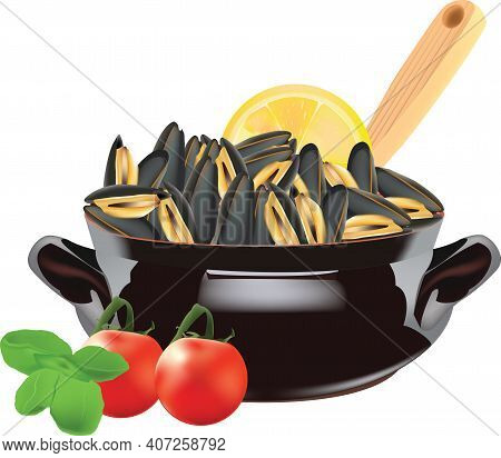 Stewed Mussels Oval Terracotta Pan With Stewed Mussels Crustaceans