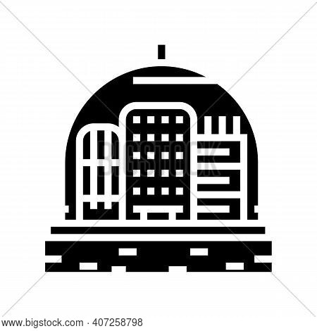 Cosmic City Under Dome Glyph Icon Vector. Cosmic City Under Dome Sign. Isolated Contour Symbol Black
