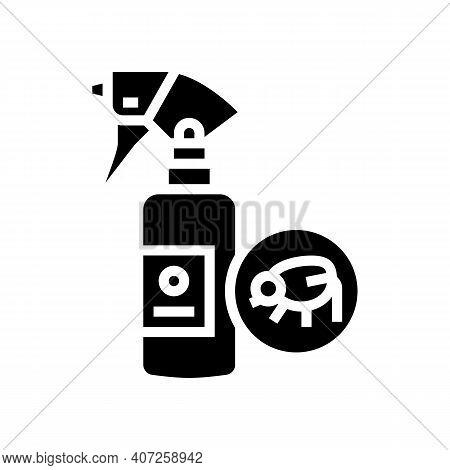 Flea Spray Glyph Icon Vector. Flea Spray Sign. Isolated Contour Symbol Black Illustration