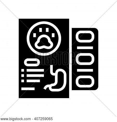 Medicaments For Pet Stomach Glyph Icon Vector. Medicaments For Pet Stomach Sign. Isolated Contour Sy
