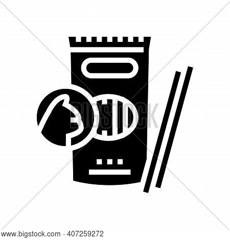 Delicacy Food For Cat Glyph Icon Vector. Delicacy Food For Cat Sign. Isolated Contour Symbol Black I
