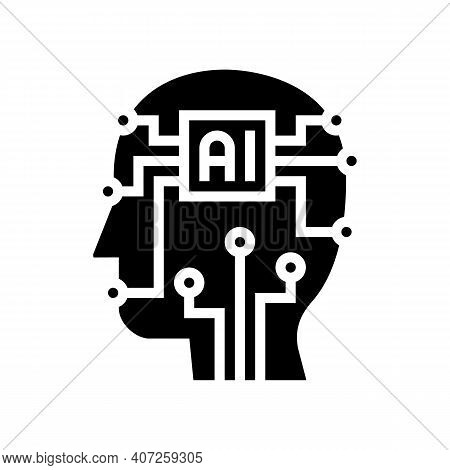 Artificial Intelligence Technology Glyph Icon Vector. Artificial Intelligence Technology Sign. Isola