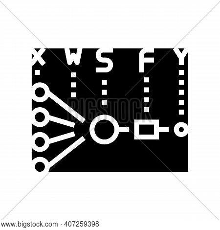 Mathematical Model Neural Network Glyph Icon Vector. Mathematical Model Neural Network Sign. Isolate