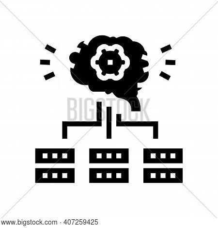 Servers Communication Neural Network Glyph Icon Vector. Servers Communication Neural Network Sign. I