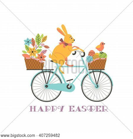 Cute Easter Rabbit On Bicycle With Eggs In Basket Vector Background. Funny Bunny, Chicken Cartoon Il