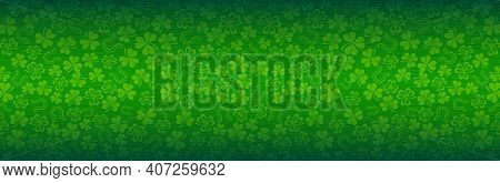 Green Patrick's Day Greeting Banner With Green Clovers. Patrick's Day Holiday Design. Horizontal Bac