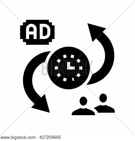Advertise To Buyers Clients Converter Glyph Icon Vector. Advertise To Buyers Clients Converter Sign.