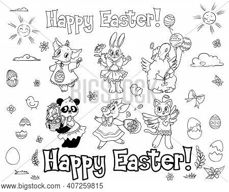 Happy Easter Ia A Decoration Set For Kids Party, Gifts. These Can Be Used As Color-in Pictures, Stic