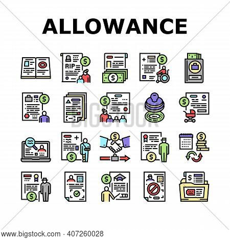 Allowance Finance Help Collection Icons Set Vector. Checking Status And Issue Of Allowance, Loss Of