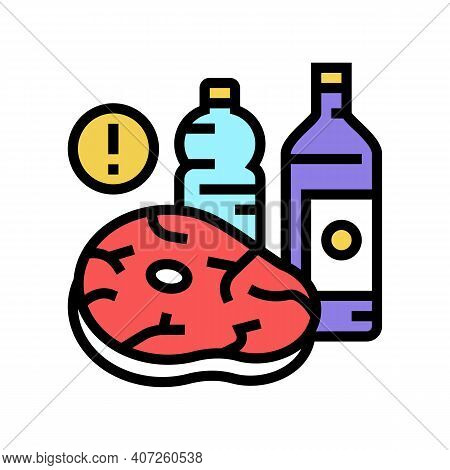 Meat, Fat Oil Unhealthy Products For Gout Disease Color Icon Vector. Meat, Fat Oil Unhealthy Product