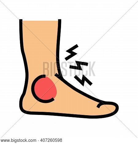 Foot Gout Pain Symptom Color Icon Vector. Foot Gout Pain Symptom Sign. Isolated Symbol Illustration