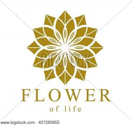 Flower Of Life Ancient Symbol Beautiful Elegant Vector Logo Or Emblem Isolated Over White Background