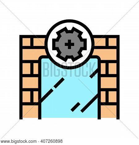 On Wall Installation Mirror Color Icon Vector. On Wall Installation Mirror Sign. Isolated Symbol Ill