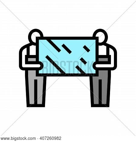 Installers Holding Mirror Color Icon Vector. Installers Holding Mirror Sign. Isolated Symbol Illustr